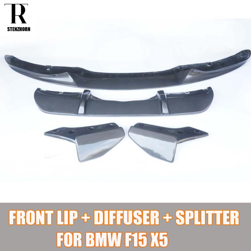 F15 X5 kit carrosserie en Fiber de carbone pour BMW F15 X5 m-tech m-sport kit carrosserie diffuseur arrière et séparateur arrière et lèvre avant