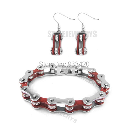 Free shipping!Bling Silver & Red Bicycle Chain Motor Earring and Bracelet Stainless Steel Jewelry Motorcycle Biker Set SJB0149S