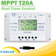 Mppt regulador 20a 12v/24v painel solar bateria, regulador de carga bateria controlador para iluminação sistema de luz de carga e controle do temporizador