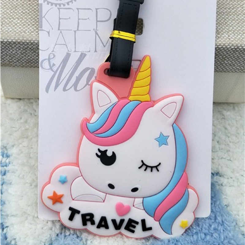 2019 New Kawaii Dragon Suitcase Luggage Tags Cartoon Unicorn Address Holder Baggage Label Silica Gel Identify Travel Accessories