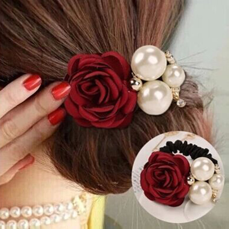 Flower Elastic Hair Rubber Bands Satin Rose Simulated Pearls Decor Ponytail Ties Hair Accessories for Women Girls lnrrabc 12pcs pack elastic hair bands headband stretchy hair rope rubber bands hair accessories for accessoire cheveux