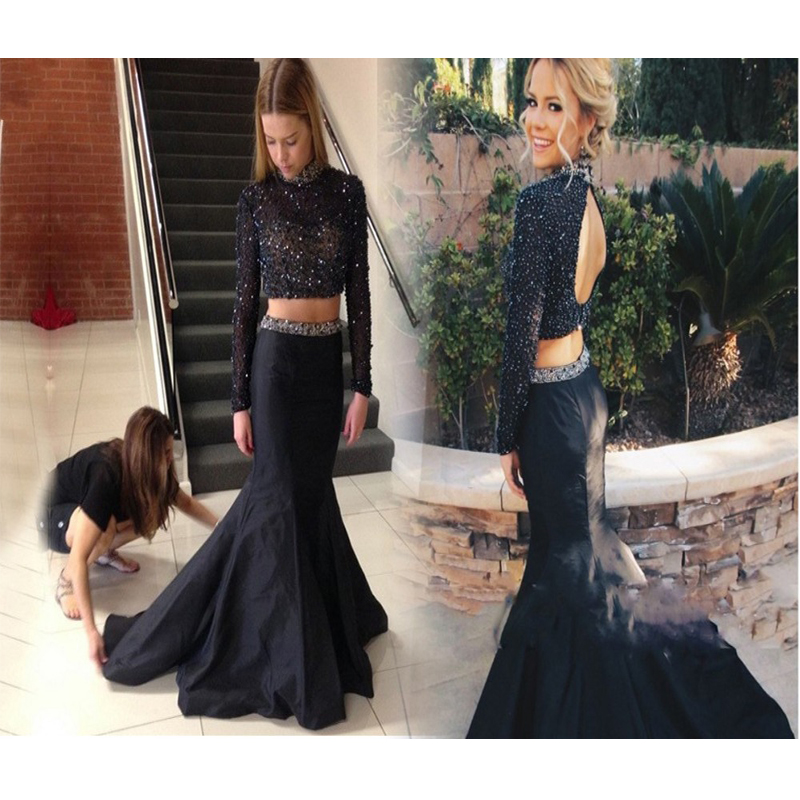 Elegant Black 2 Pieces   Prom     Dresses   2019 Long Sleeve Crystal Beaded Backless Court Train Formal Party Gowns Vestidos Formatura
