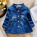 2016 fashion spring autumn childern leisure coat&outerwear baby girls ruffles denim jacket kids girls temperament jean outfits