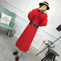 Casual Long Sweater Dress Autumn Winter Long Sexy Turtleneck Bodycon Dresses With Belt Loose Solid Green Knitted Dress Korean