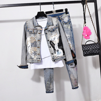 Spring suits women fashion Cartoon sequins short denim jacket+jean 2pcs sets female slim trend cowboy sets lady street wear jean