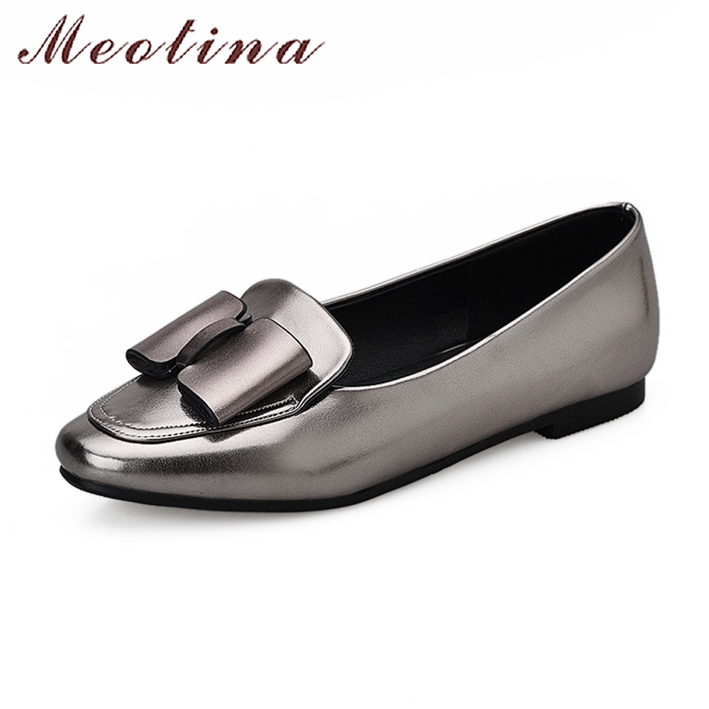Meotina Women Boat Shoes Bow-Knot Ballet Flats Spring Slip On Ladies Flats Square Toe Luxury Footwear Silver Red Big Size 10 43 lapolaka 2018 spring autumn sweet shallow women ballet flats bow beading slip on shoes woman big size 33 43 casual footwear