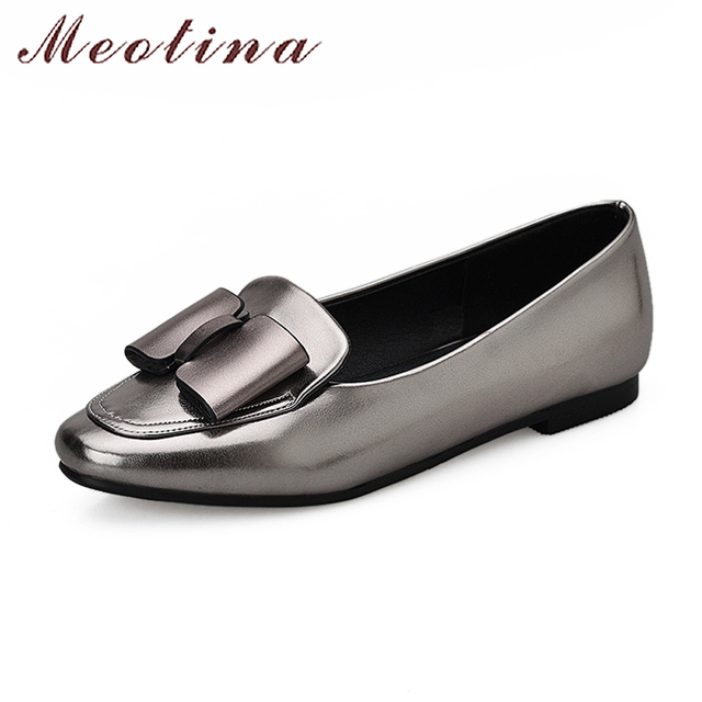 Meotina Women Boat Shoes Bow-Knot Ballet Flats Spring Slip On Ladies Flats Square Toe Luxury Footwear Silver Red Big Size 10 43