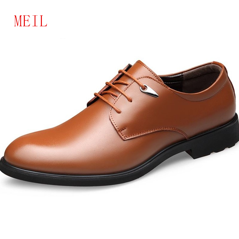 New Mens Rormal Shoes Genuine Leather Italian Brand Business Derby Man Lace-up Casual Concise Comfort Men Oxfords Handmade