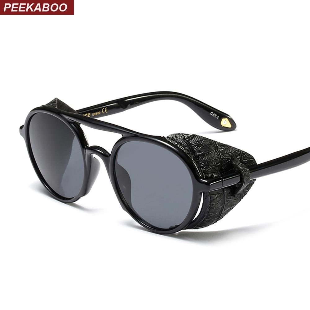 4e327d0404908 Peekaboo steampunk men sunglasses with side shields 2019 summer style  leather round sun glasses for women retro uv400
