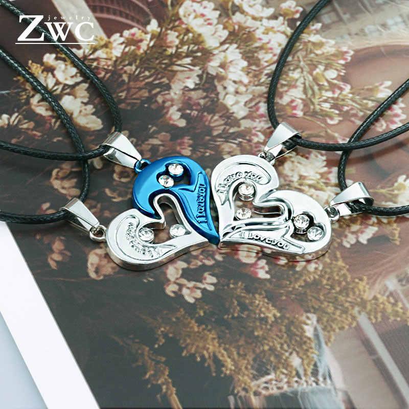 Zwc 2 Cái/bộ Inox Thời Trang Cặp Đôi Vòng Cổ Dành Cho Nữ DỰ TIỆC CƯỚI Trái Tim Khâu Mặt Dây Chuyền Vòng Cổ Trang Sức