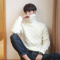 Korean White Knitted Turtleneck Men Sweater Man Solid Winter Pullover Men Sweater Coat Mens Plus Size Sweaters 5xl 4xl 3xl Black
