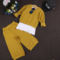 En el otoño de 2016 nueva baby girls juego de cartas suéter de manga larga + pantalones anchos de la pierna pantalones tres piezas conjunto envío libre