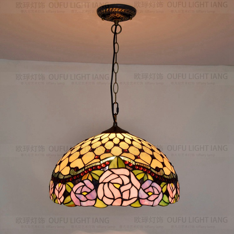 Diameter 40CM RETRO Art Glass Pink Rose Pendant Light Bed Room Dining Room  Cafe