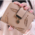 wholesale women short wallet zip hasp leaves hollow out casual wallets package candy color purse card holder coin purse XD3143