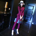 The new autumn and winter women's round neck Slim nine points sleeve shirt + fashion casual pants feet high waist suit