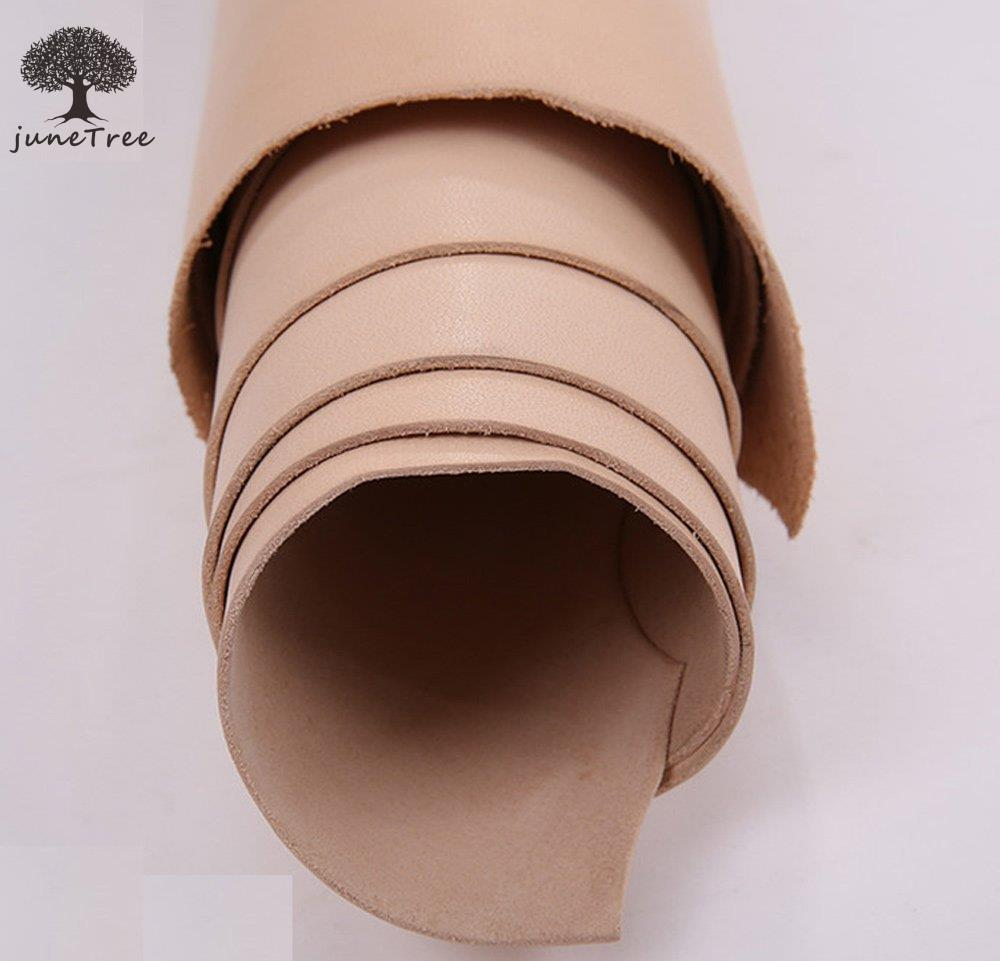 juneTree Natural Cowhide thick genuine leather vegetable tanned leather 3.5 to 4.0 mm square piece shapes 4 sizes can choose