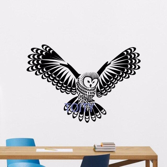 Owl Wall Decal Forest Bird Nursery Vinyl Sticker Nature Art Bedroom Decor  Mural H57cm X W83cm