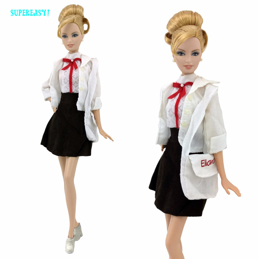 5 In 1 Trend Outfit Jacket Vest Skirt Bag Sneakers Dollhouse Costume Equipment For Barbie Doll Garments Preppy Fashion Toys Present