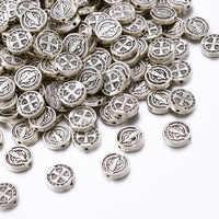 50 шт Плоские Круглые прокладки в тибетском стиле, 10x2,5 мм, античный серебряный тон, Крест Иисуса, распятие, орден Святого Бенедикта, отверстие...