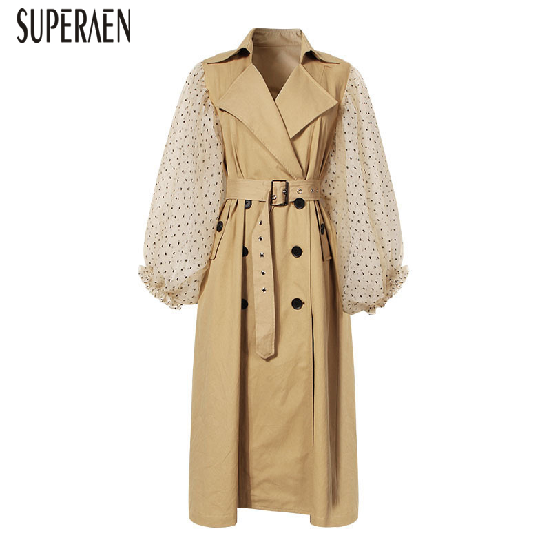 SuperAen 2019 Spring and Autumn New   Trench   Coat for Women Wild Casual Mesh Stitching Ladies Windbreaker Europe Women Clothing