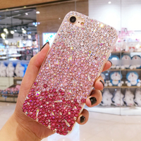 Pink Gradient Full Diamond Fitted Phone Case For IPhone X 8 7 6 6s Plus Shiny