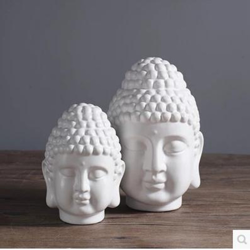 Buddha statue, ceramic Buddha head, home feng shui decorations