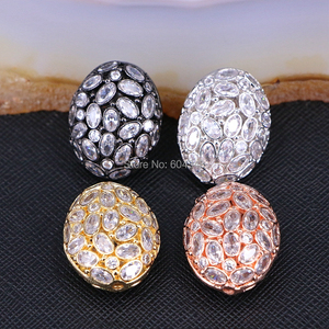 Image 1 - 5PCS ZYZ183 9817 Micro Pave CZ Oval Shape beads For Bracelet Necklace Jewelry Making Spacer Connector Metal Beads Findings