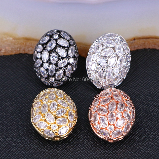 5PCS ZYZ183 9817 Micro Pave CZ Oval Shape beads For Bracelet Necklace Jewelry Making Spacer Connector Metal Beads Findings