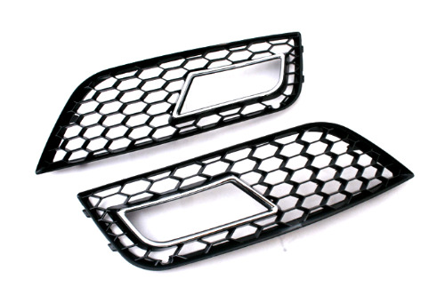 Honeycomb Vented Chrome Trim Fog Light Grille For Audi A4