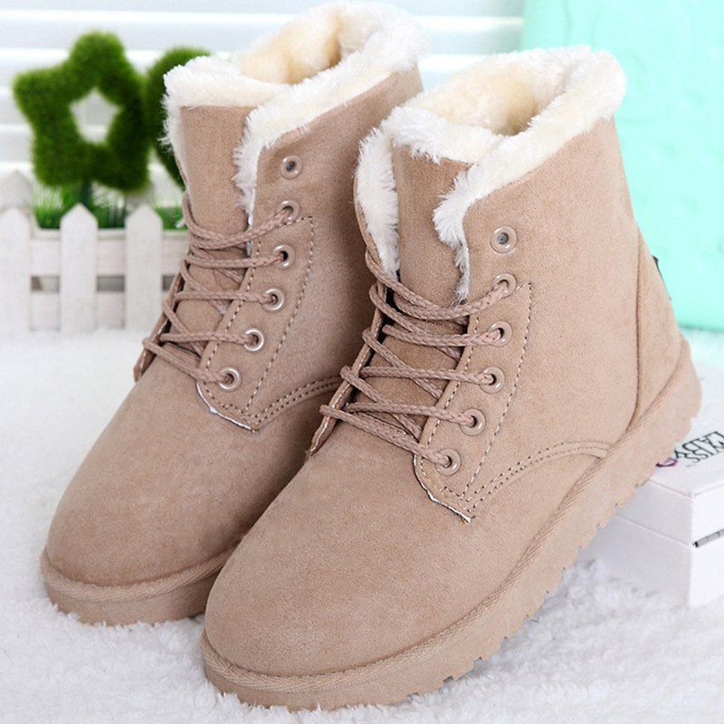 Women Boots Fashion Flock Ankle Boots Women Winter Shoes Warm Shoes Women Snow Winter Boots Round Toe flat with bow ankle boots shoes style women boots round toe platform snow boots for women fashion flock short outdoor shoes