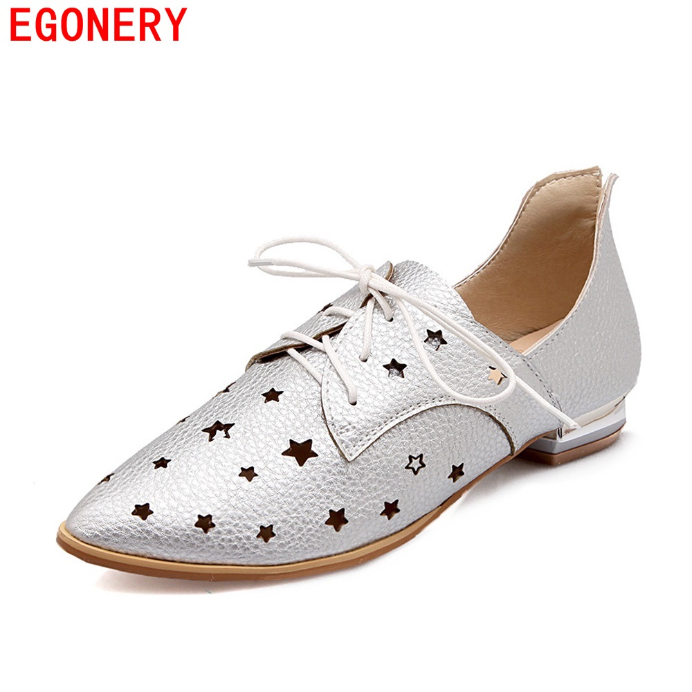 EGONERY New Spring Lace Up Air Cut-out Hole Pointed Toe Low Heel Women Shoes Faux Leather Lady Flat Shoe Plus Size egonery new sweet lady round toe faux leather slip air spring dress women pumps heels shoes plus size us 12