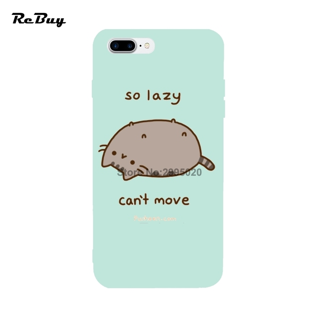 on sale 48ca9 a006a US $9.0 |Cute Cat Quote 9 Lives Pusheen For Iphone 6/6s/6s plus/6plus Case  Soft TPU Protect Covers For Iphone 7 7plus 8 8Plus X Funda-in Fitted Cases  ...