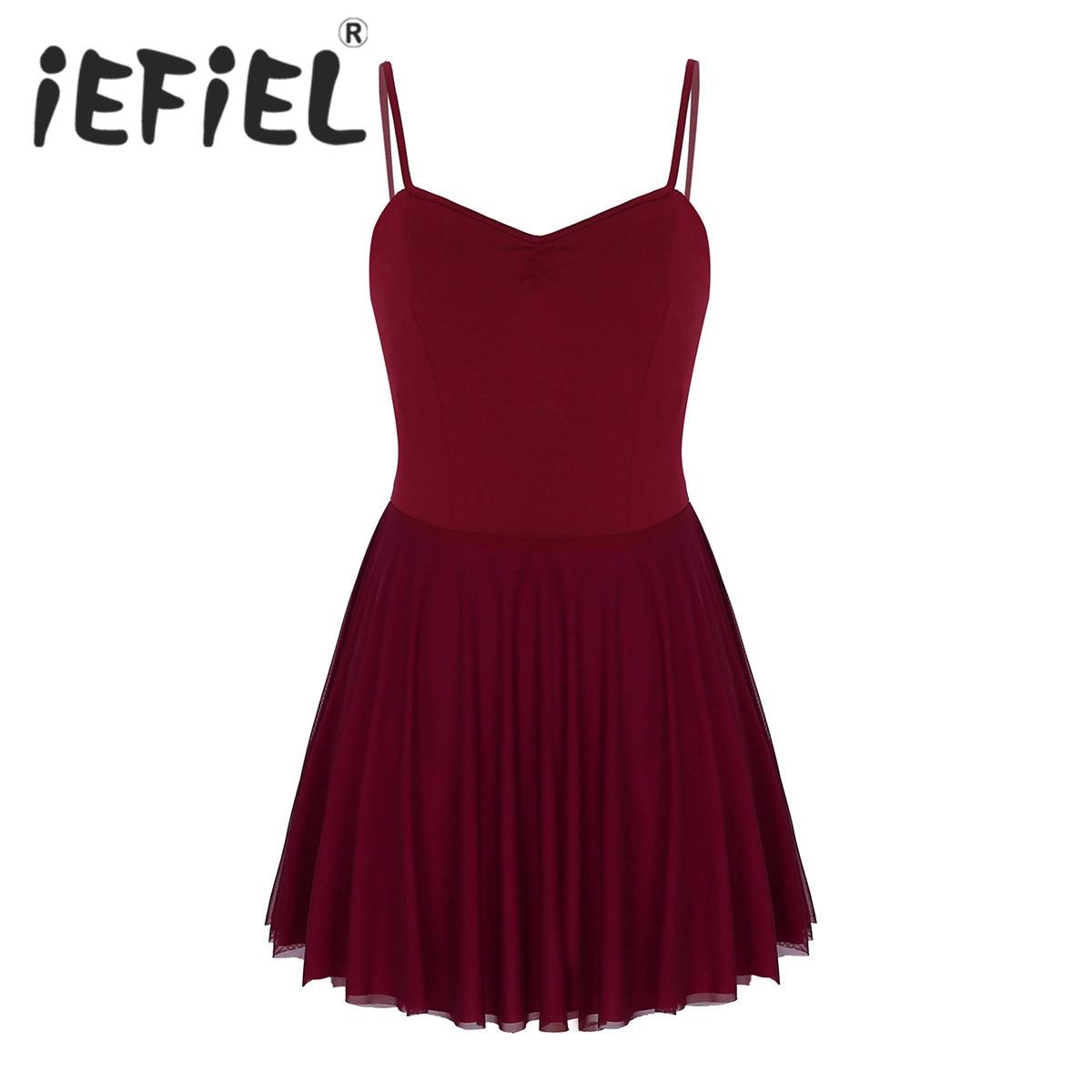 iEFiEL Women Adult Girls Teenage  Deep V Neckline Built In Shelf Bra Leotard Gymnastics Bodysuit Ballet Performance Dancewear
