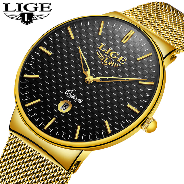 2018 New LIGE Luxury Brand Men Watches Reloj Hombre Fashion Slim Mesh Steel Date Waterproof Sport Quartz Watch Relogio Masculino