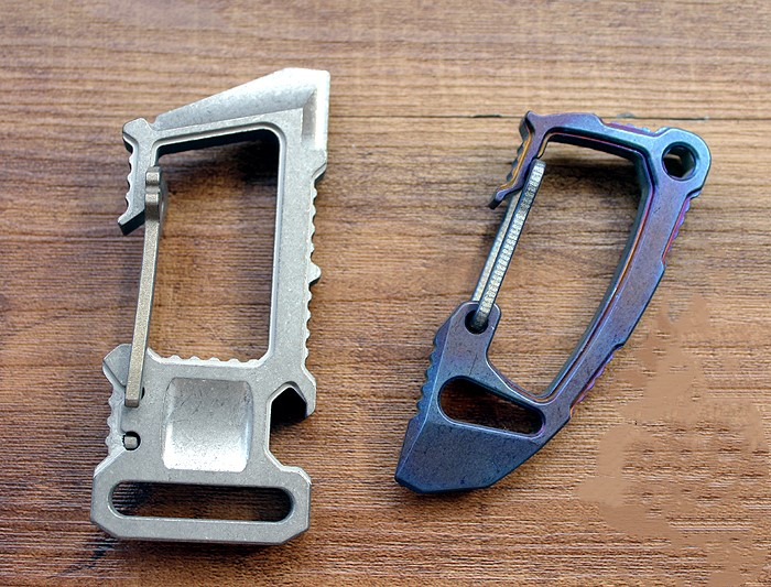 Titanium Alloy EDC Defense Keychain Quick-hang Buckle Crowbar Bottle Opener Tool