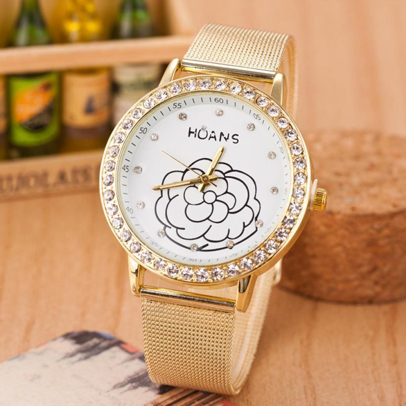 Xiniu Women Watch relojes de mujer Crystal Gold Mesh