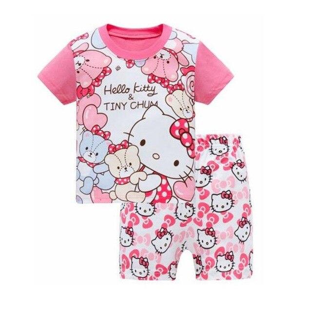 abdc0d85a Hello Kitty Children's sets Girs T shirt Short Pants 2017 New Casual  Cartoon Cotton Hello Kitty
