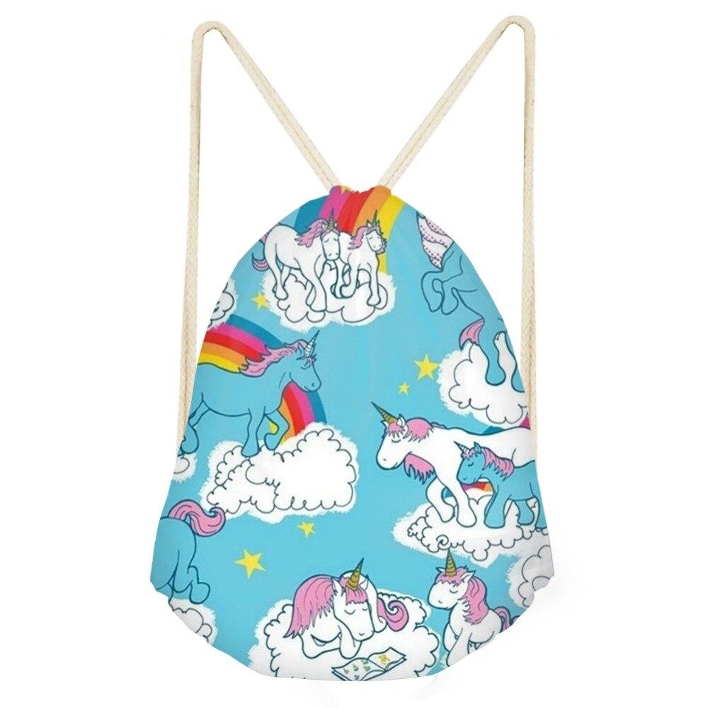 Women High Quality Drawstring Bag 3D New Anime Printing Colorful Horse Softback Male Backpacks Female Girls Boys Causal Backpack