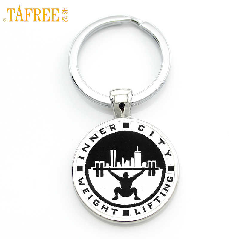TAFREE Brand vintage fashion Weight Lifting keychain for men jewelry retro silhouette bodybuilding sports key chain rings SP263