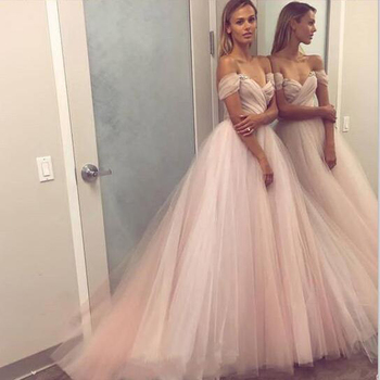Tulle Princess Evening Dress Boat Neck Off The Shoulder Long Formal Dresses 2019 Party Gowns Evening Gowns Robe De Soiree