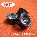 20 unids/lote, LED de superficie de la lente es de 60 grados 20 mm + soporte de lente, 1 w 3 w LED lente, LED de la lente pmma, envío gratis