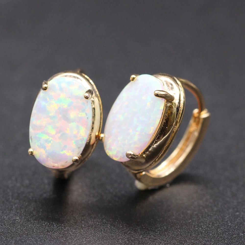 Jy Unique Oval White Blue Opal Hoop Earring Champagne Gold Color Zircon Crystal For Woman 3 In Earrings From Jewelry Accessories