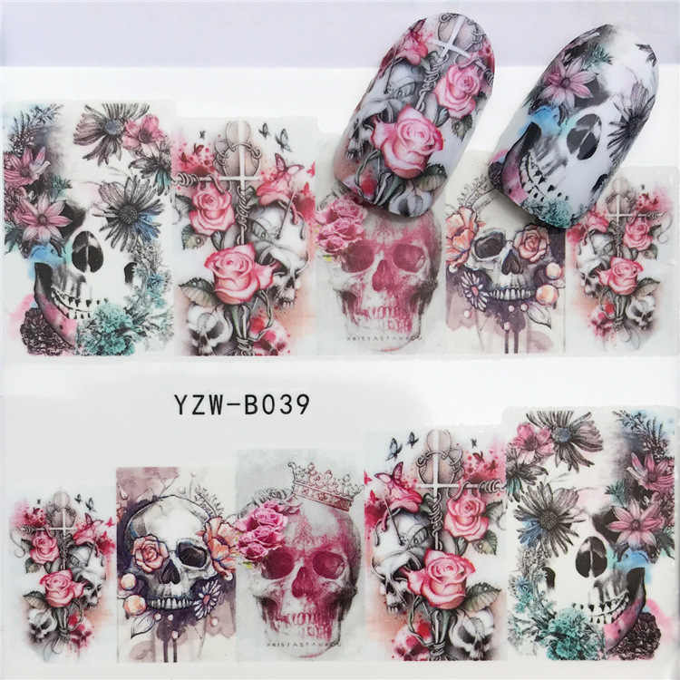 Stickers for Nails Water Decals skull head Nail Slider Art design Halloween Decoration Manicure Foil Adhesive Wraps Pegatinas