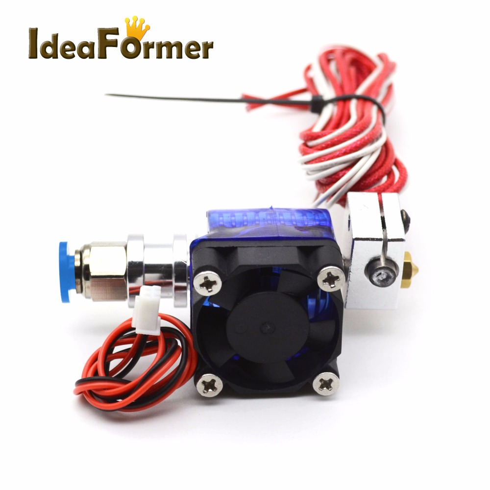 3D Printer Long Distance V6 J-head Hotend Extruder With Fan For 1.75/3.0 12/24V 0.2/0.3/0.4/0.5mm Nozzle Makerbot Reprap For E3D