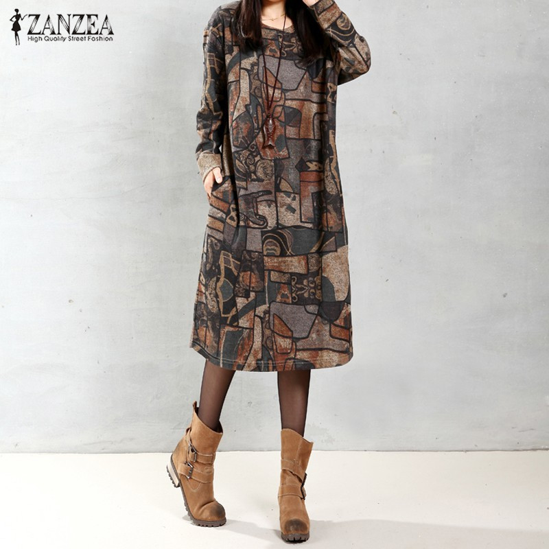 ZANZEA Women Vintage Mid-calf Length Dress 2019 Autumn Casual Loose Long Sleeve O Neck Print Dress Vestidos Plus Size Oversized