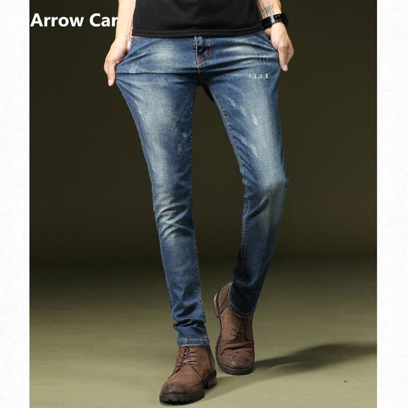Jeans extensibles hommes Slim pieds pantalon élastique léger décontracté mode Denim pantalon hommes Jeans 2018 élasticité jeans hommes