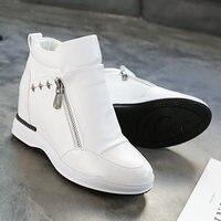 SWYIVY PU Platform Sneakers Womens Shoes White Zipper New 2019 Autumn Women Casual Shoes Woman Wedge Sneakers For Women Fashion