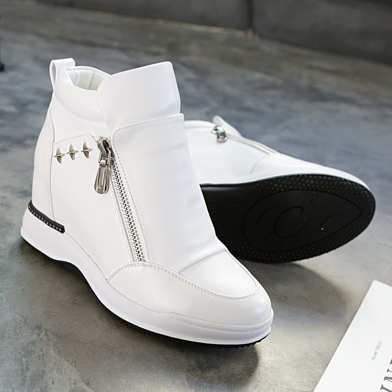 SWYVIY Chunky Solid Ladies Shoe Woman Sneakers 2019 New Autumn Zipper Women Casual Shoes White Platform Wedges Shoes For Women