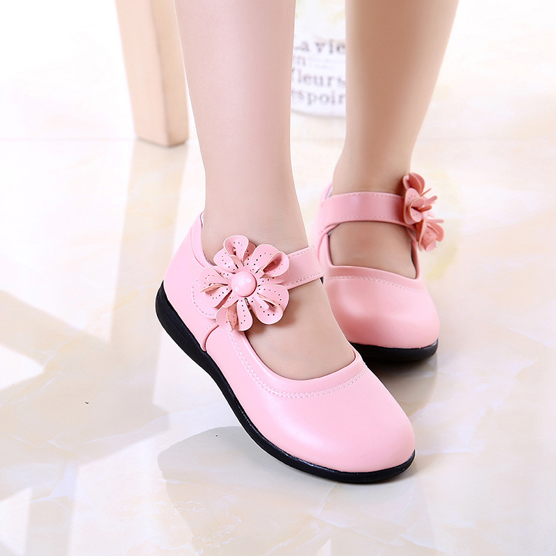 2019 New Fashion Girls Shoes PU Floral Princess Girl Flats Chaussures Fille Youth Girls Shoes Toddler Kids Shoes For Girl Loafer