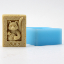 Silicone Soap Mold Square with Kitten Pattern Craft Resin Clay Mould Handmade Decorative Tool